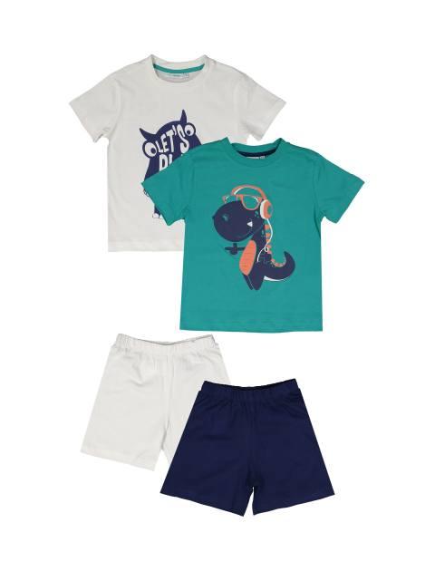 تی شرت و شلوارک نخی پسرانه بسته دو عددی - بلوکیدز - سفيد و سبزآبي - 1