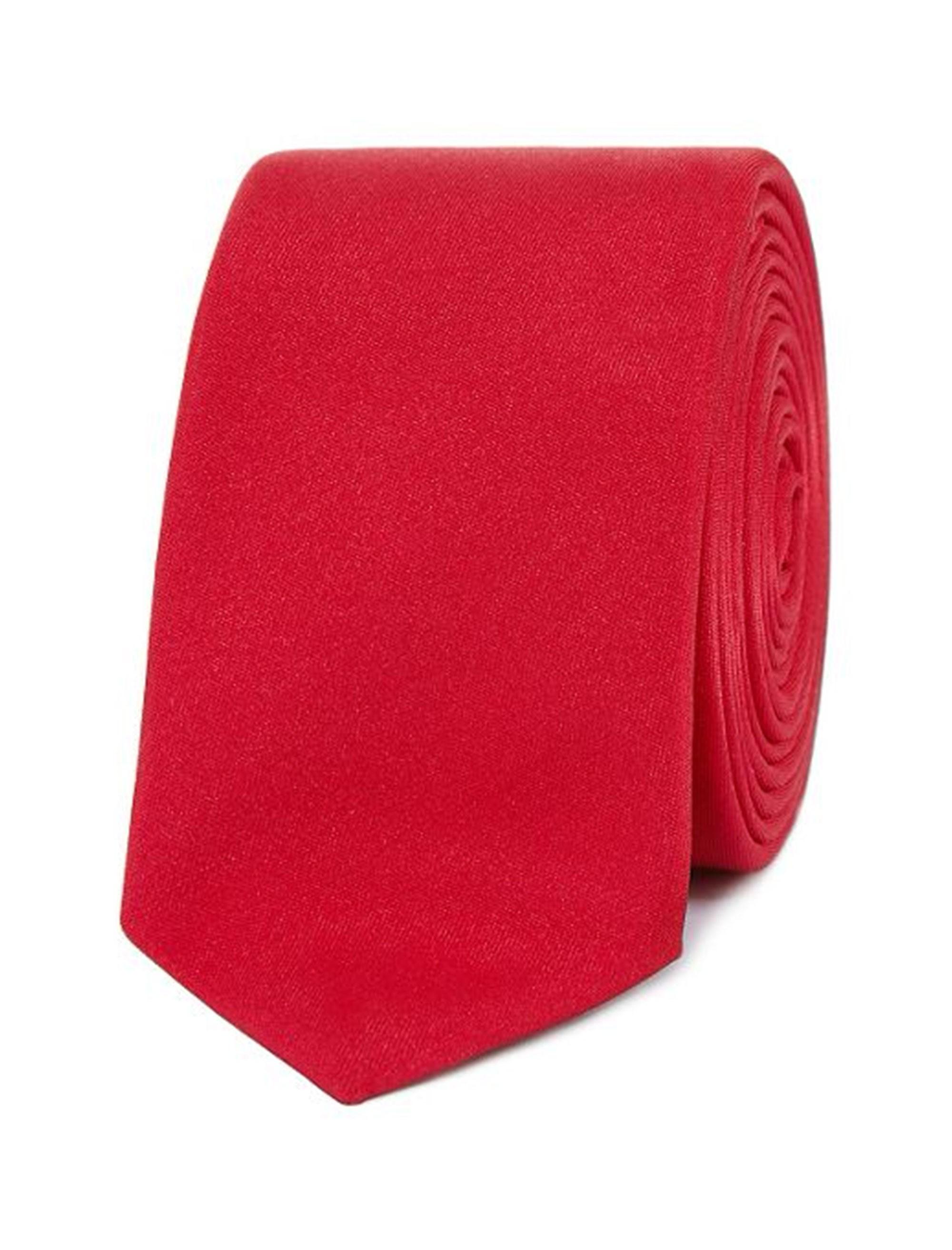 کراوات ساده مردانه - قرمز - 1