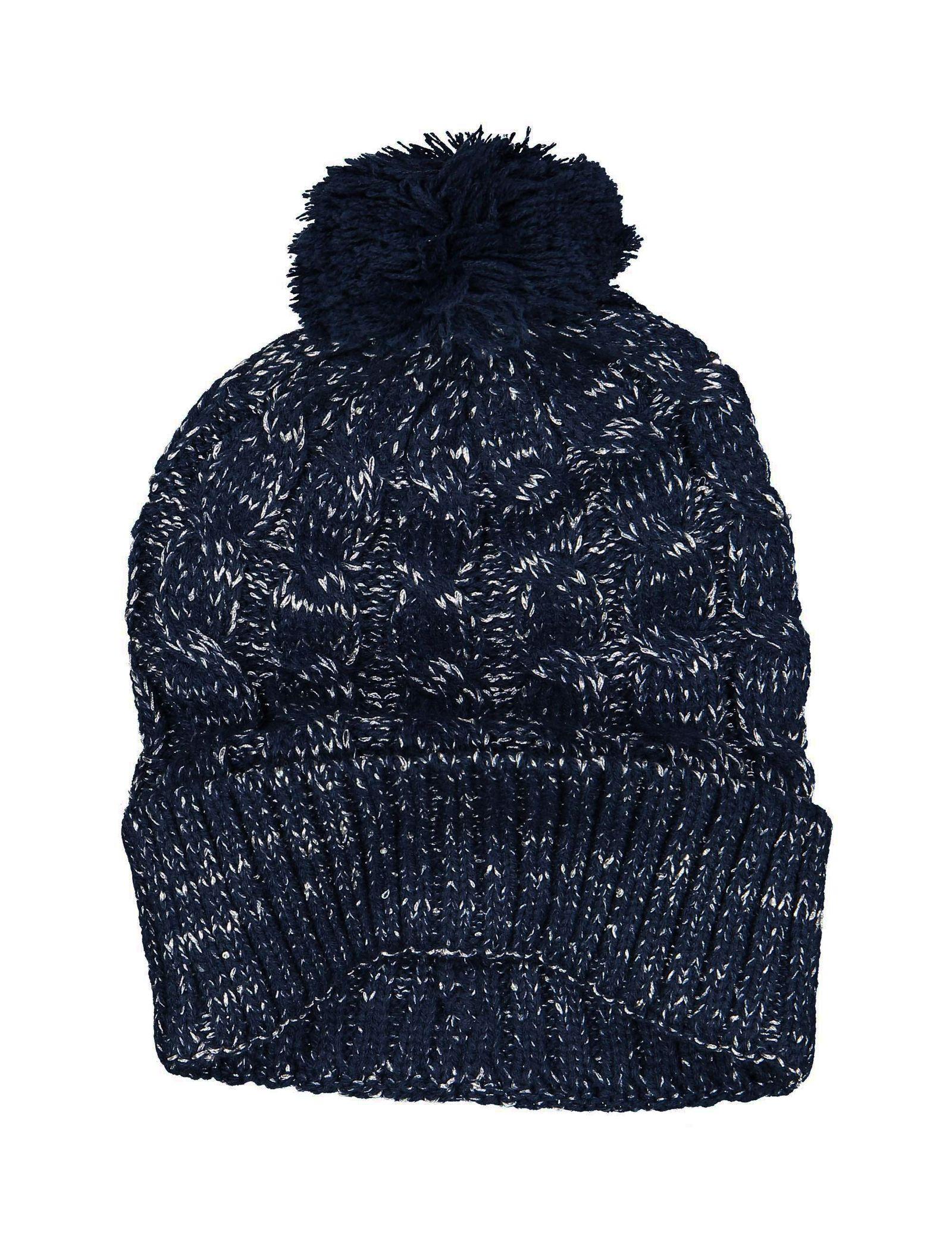 کلاه بافتنی دخترانه - تیفوسی - سرمه اي - 2