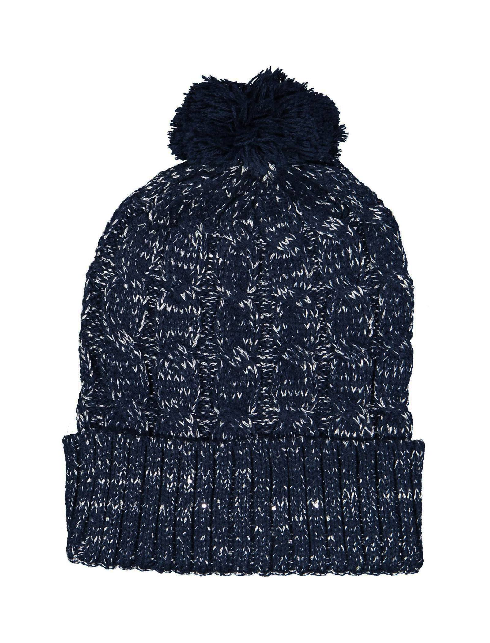 کلاه بافتنی دخترانه - تیفوسی - سرمه اي - 3