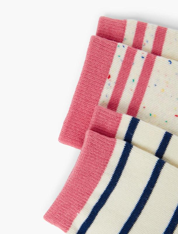 جوراب نخی طرح دار دخترانه بسته 2 عددی