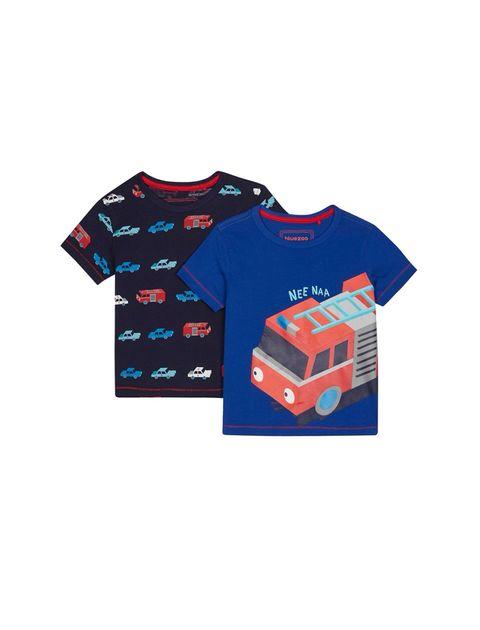 تی شرت نخی یقه گرد پسرانه بسته 2 عدی - بلوزو - آبي/سرمه اي - 1
