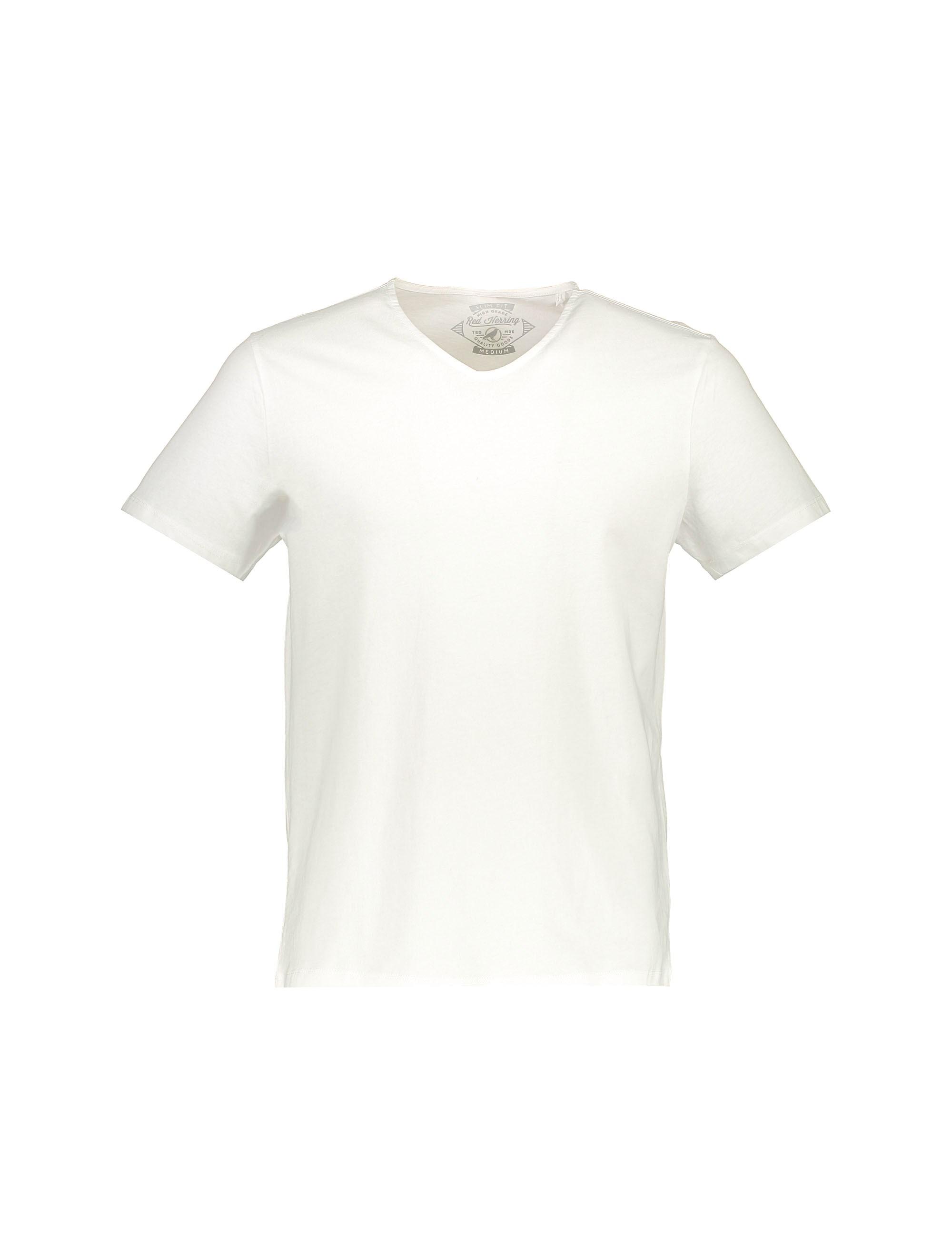 تی شرت نخی یقه هفت مردانه - رد هرینگ - سفيد - 1