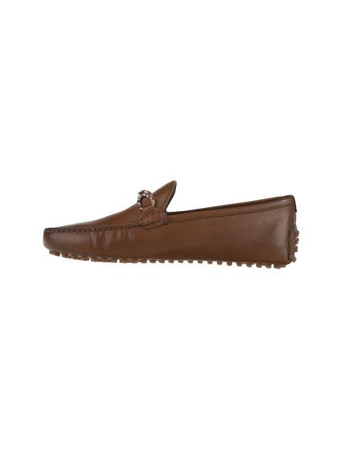 کفش چرم راحتی یکسره مردانه - قهوه اي - 1