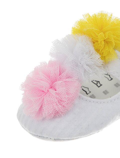 پاپوش پارچه ای نوزادی دخترانه - سفيد - 2