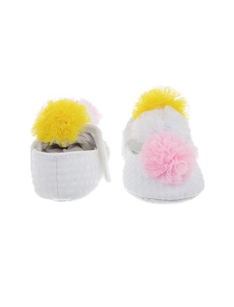 پاپوش پارچه ای نوزادی دخترانه - سفيد - 3