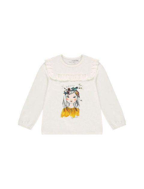 تی شرت نخی آُستین بلند دخترانه - سفيد - 1