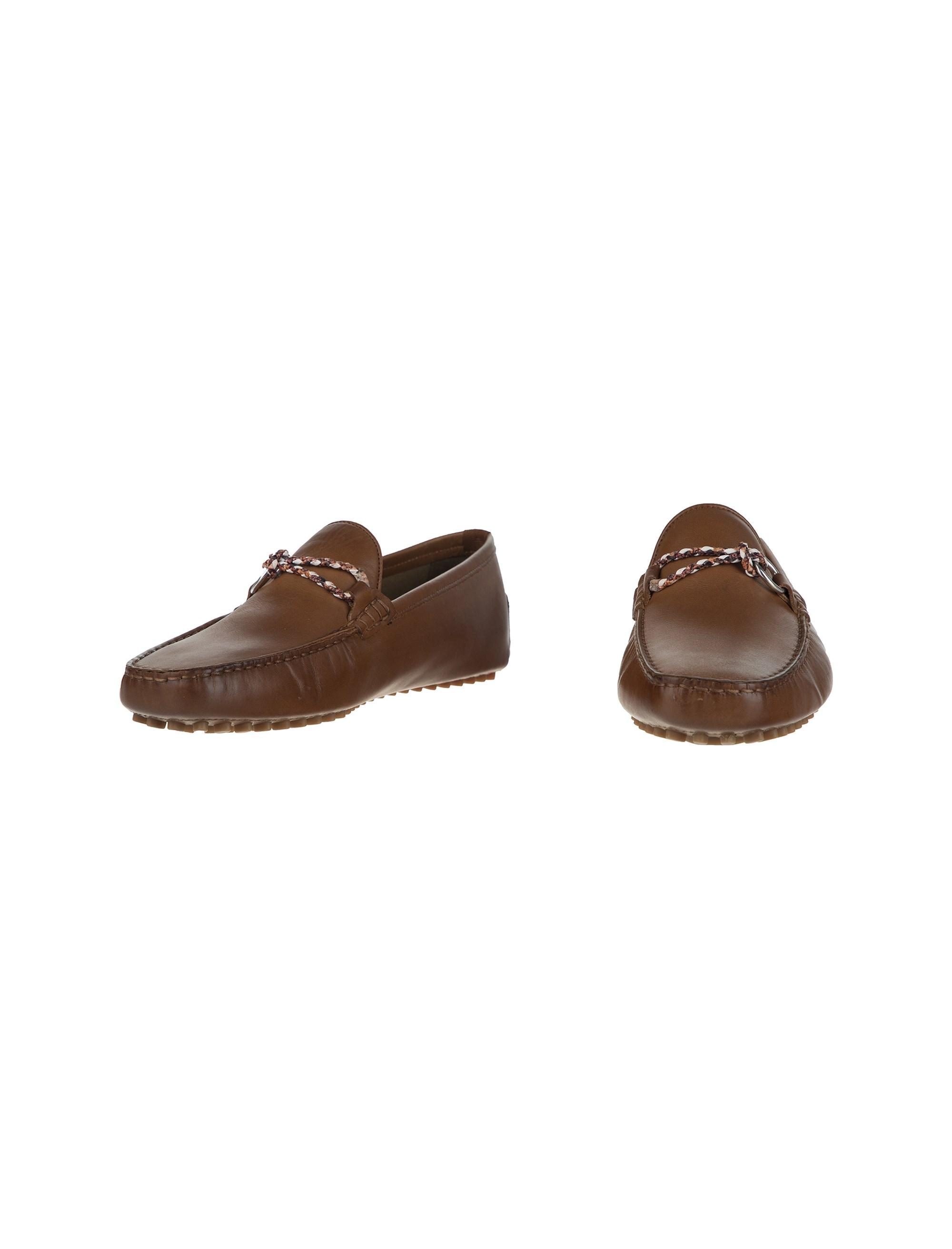 کفش چرم راحتی یکسره مردانه - قهوه اي - 3