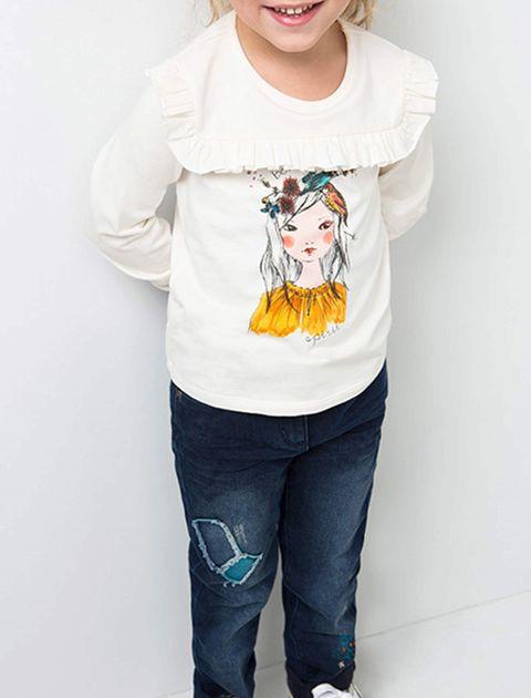 تی شرت نخی آُستین بلند دخترانه - سفيد - 4