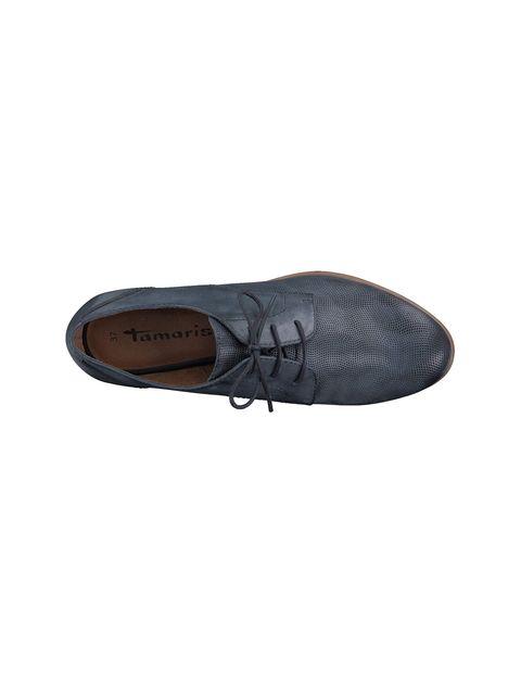 کفش چرم تخت زنانه - سرمه اي  - 2