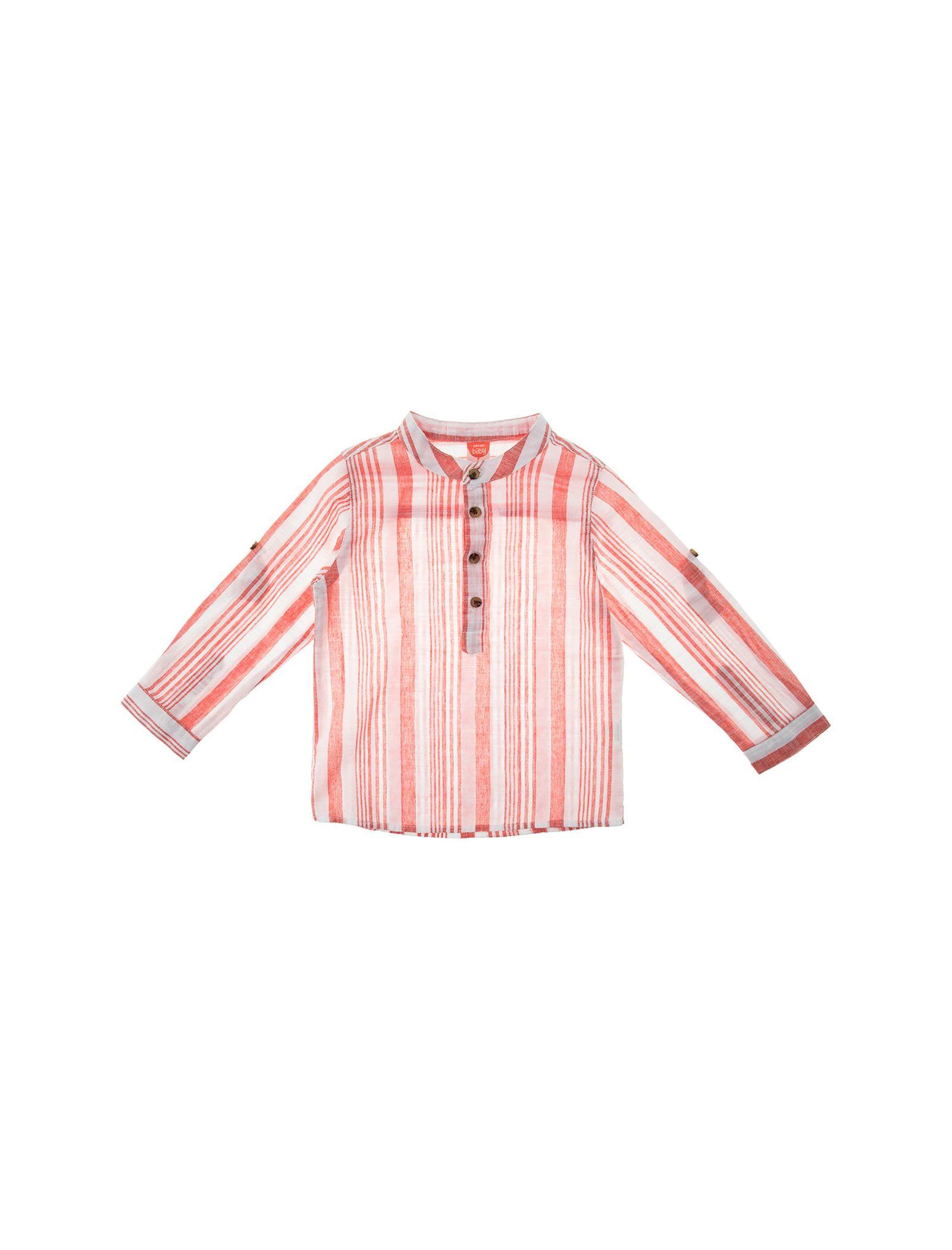 پیراهن نخی آستین بلند نوزادی پسرانه - کوتون - قرمز - 1