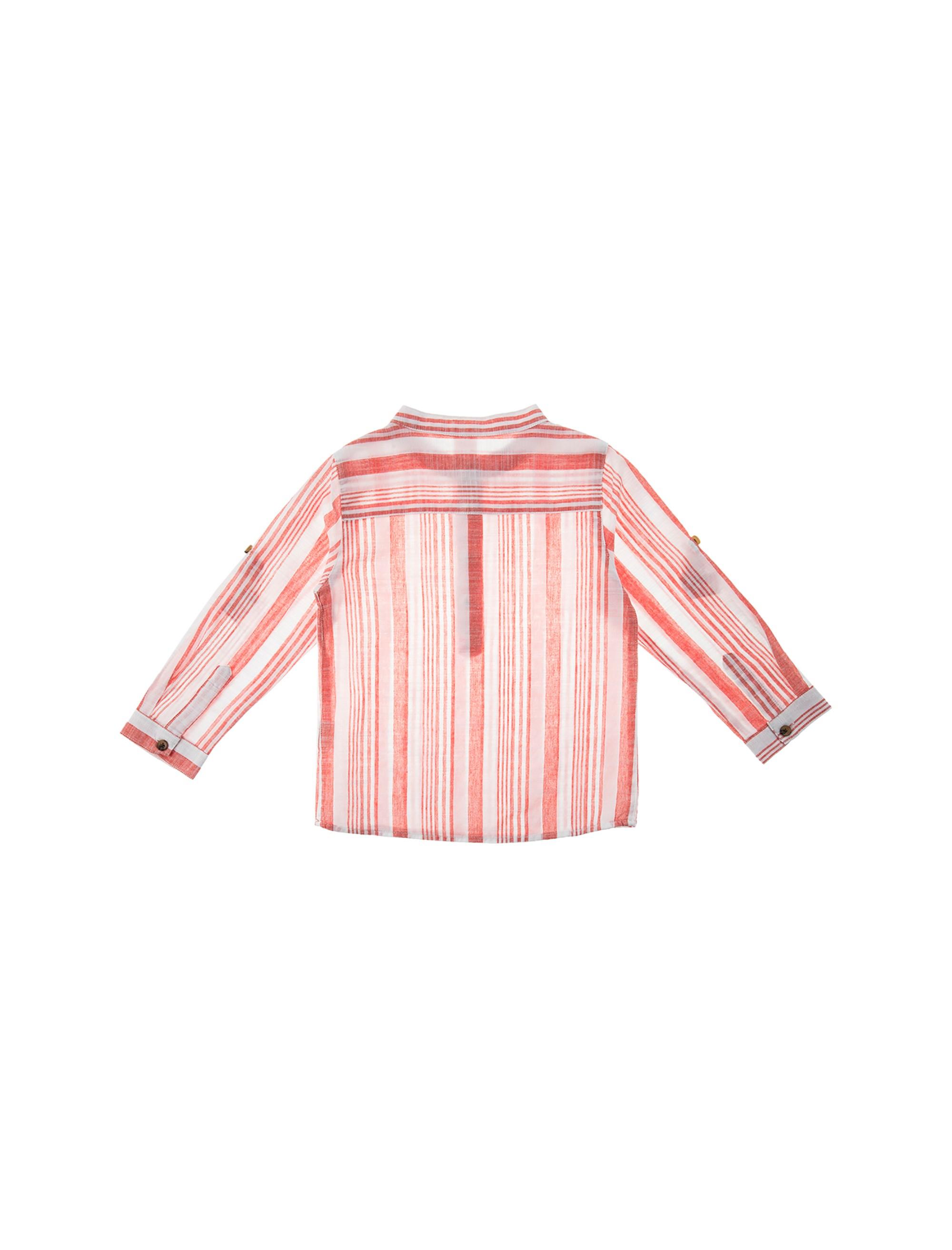 پیراهن نخی آستین بلند نوزادی پسرانه - کوتون - قرمز - 2