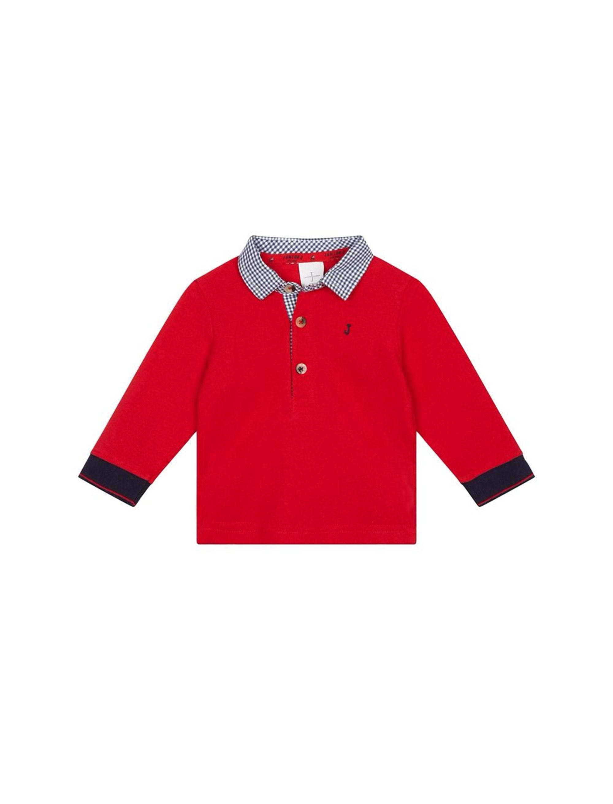 پولوشرت نخی ساده نوزادی پسرانه - قرمز - 1