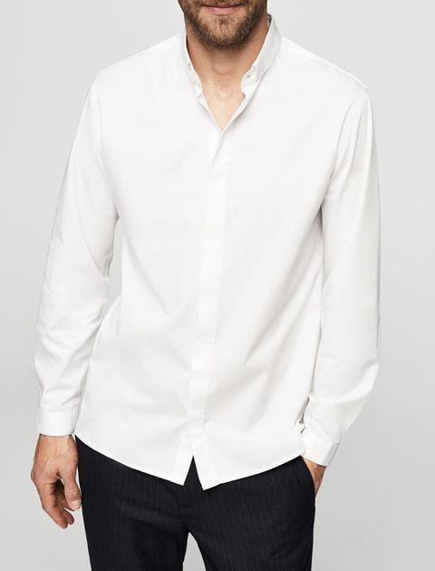 پیراهن نخی آستین بلند مردانه - سفيد - 1