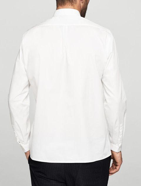 پیراهن نخی آستین بلند مردانه - سفيد - 2