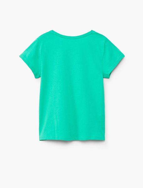 تی شرت نخی یقه گرد دخترانه - سبز - 2