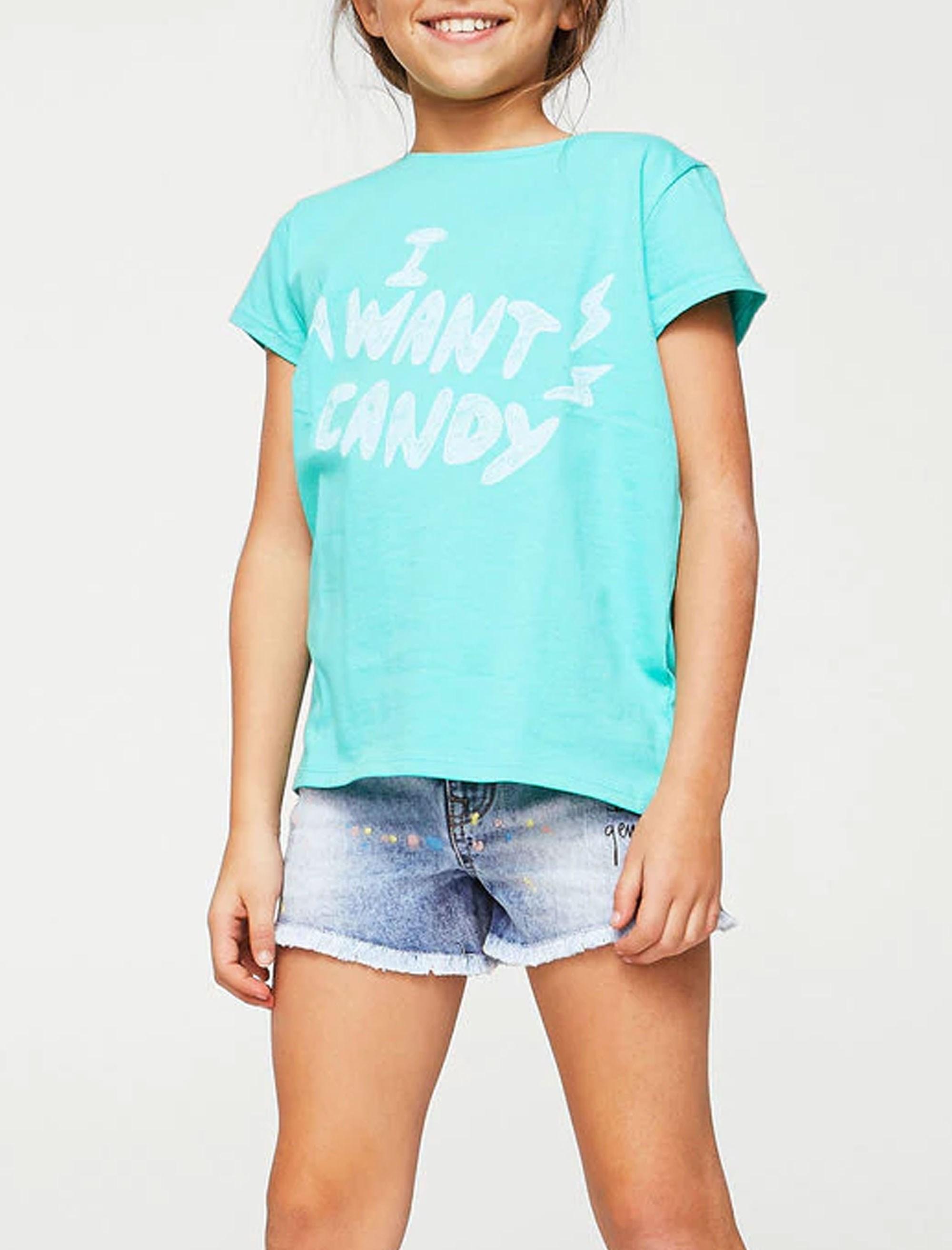 تی شرت نخی یقه گرد دخترانه - سبز - 3