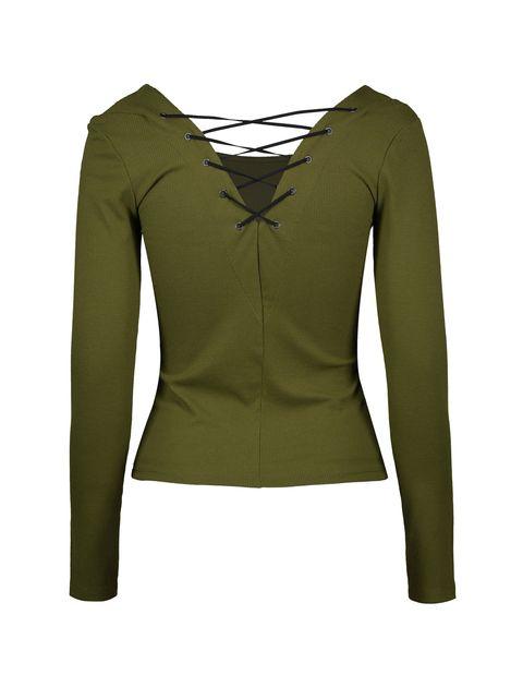 تی شرت یقه گرد زنانه - جنیفر - زيتوني - 2