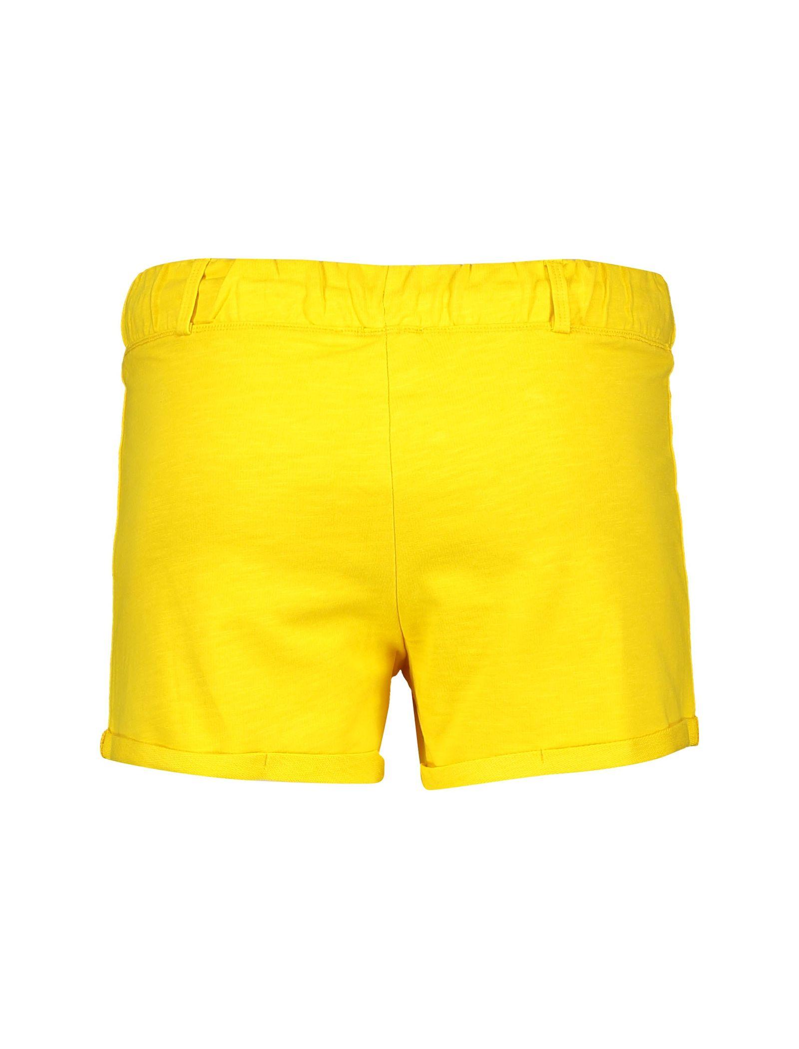 شلوارک نخی ساده دخترانه - یوپیم - زرد - 2