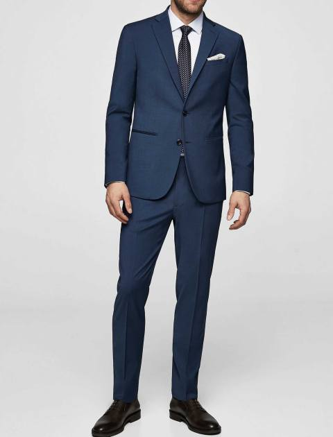 کت تک رسمی مردانه - مانگو - آبي - 2