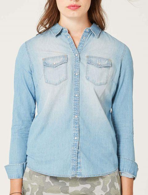 شومیز جین آستین بلند زنانه - آبي روشن - 3
