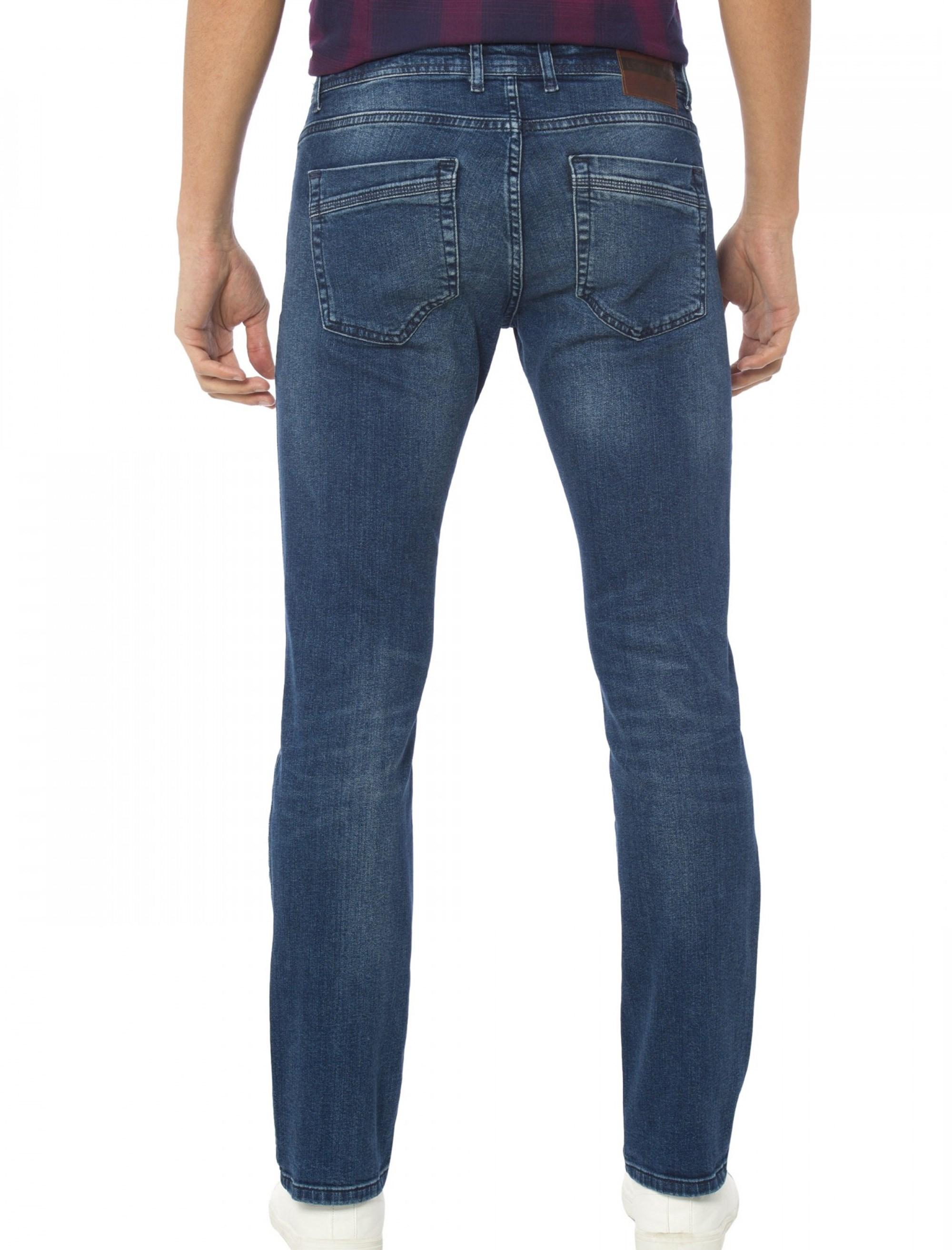 شلوار جین راسته مردانه - آبي - 2