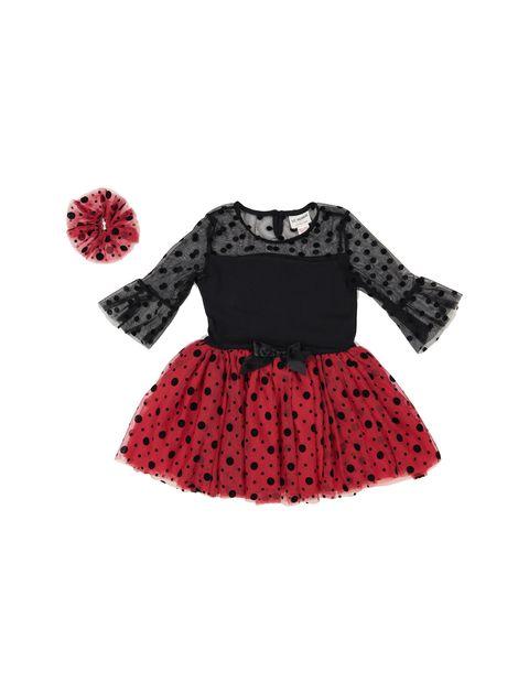 پیراهن مهمانی دخترانه - ال سی وایکیکی - قرمز و مشکي - 1