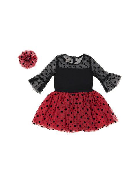 پیراهن مهمانی دخترانه - ال سی وایکیکی - قرمز و مشکي - 2