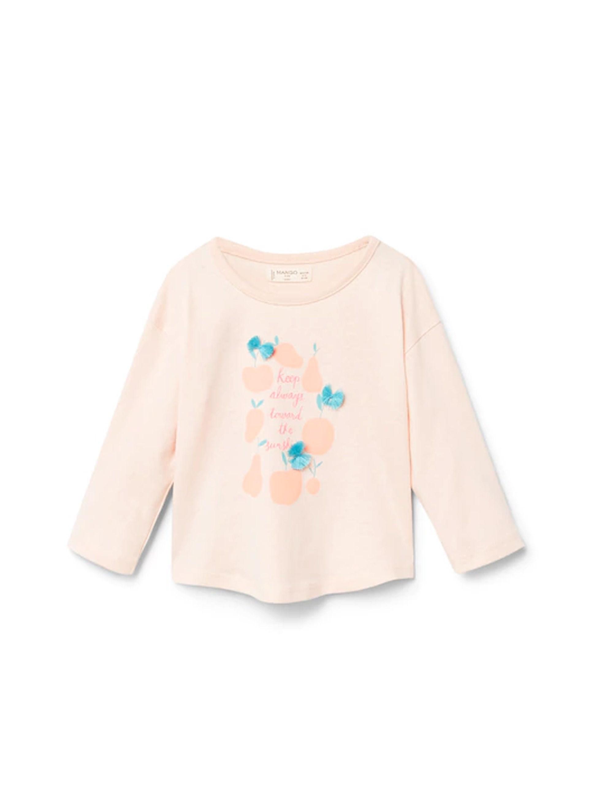 تی شرت نخی یقه گرد دخترانه - کالباسي روشن - 1