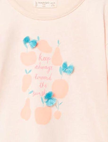 تی شرت نخی یقه گرد دخترانه - کالباسي روشن - 3