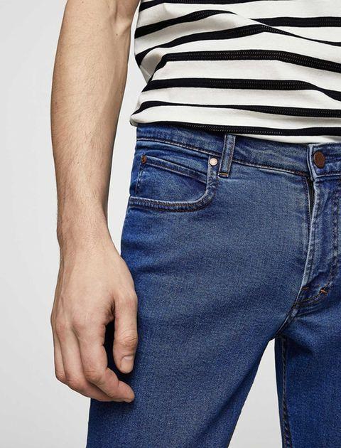 شلوار جین جذب مردانه - مانگو - آبي - 4