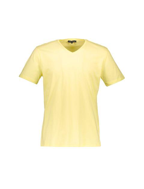 تی شرت نخی یقه هفت مردانه - زرد - 1