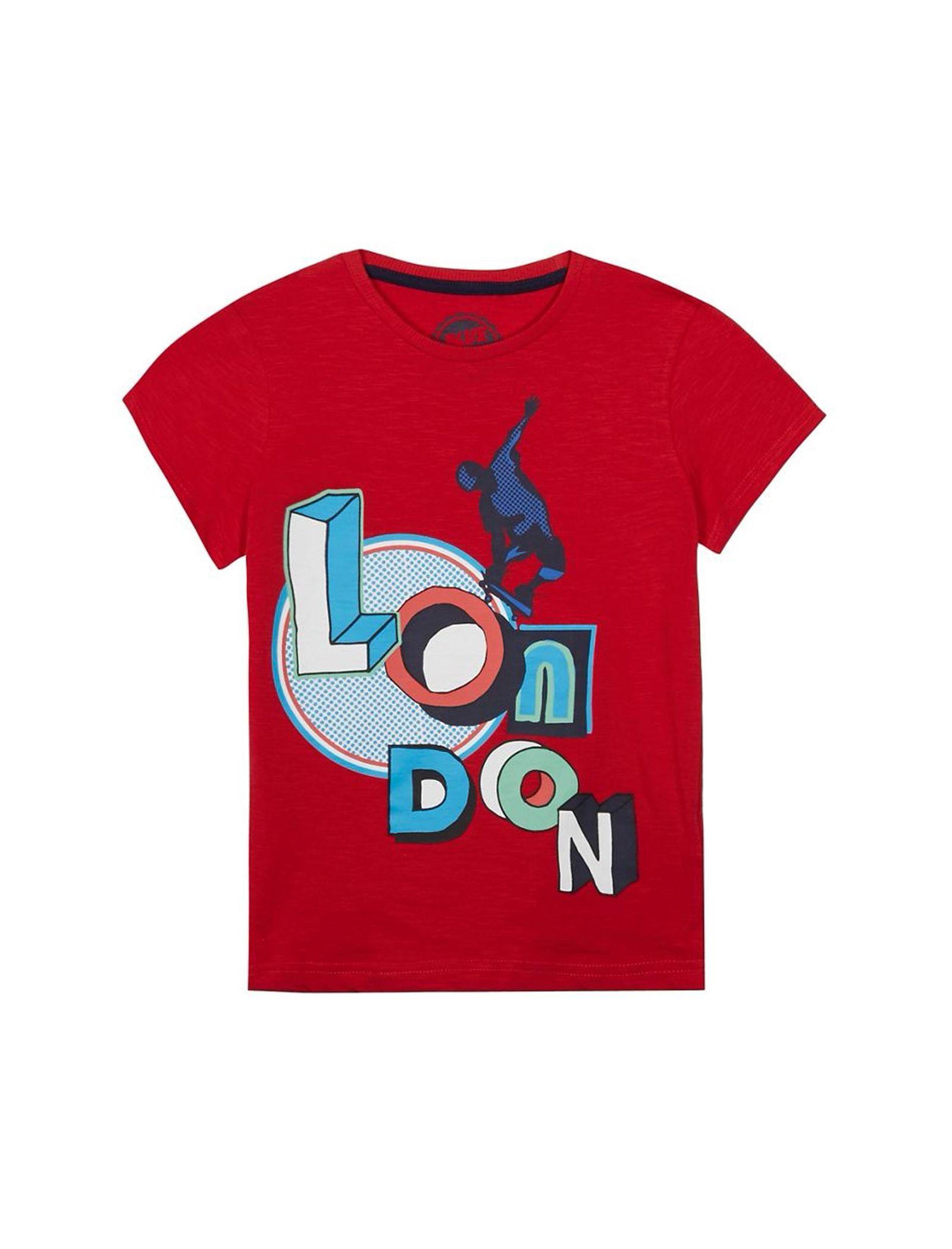 تی شرت نخی یقه گرد پسرانه - بلوزو - قرمز - 1