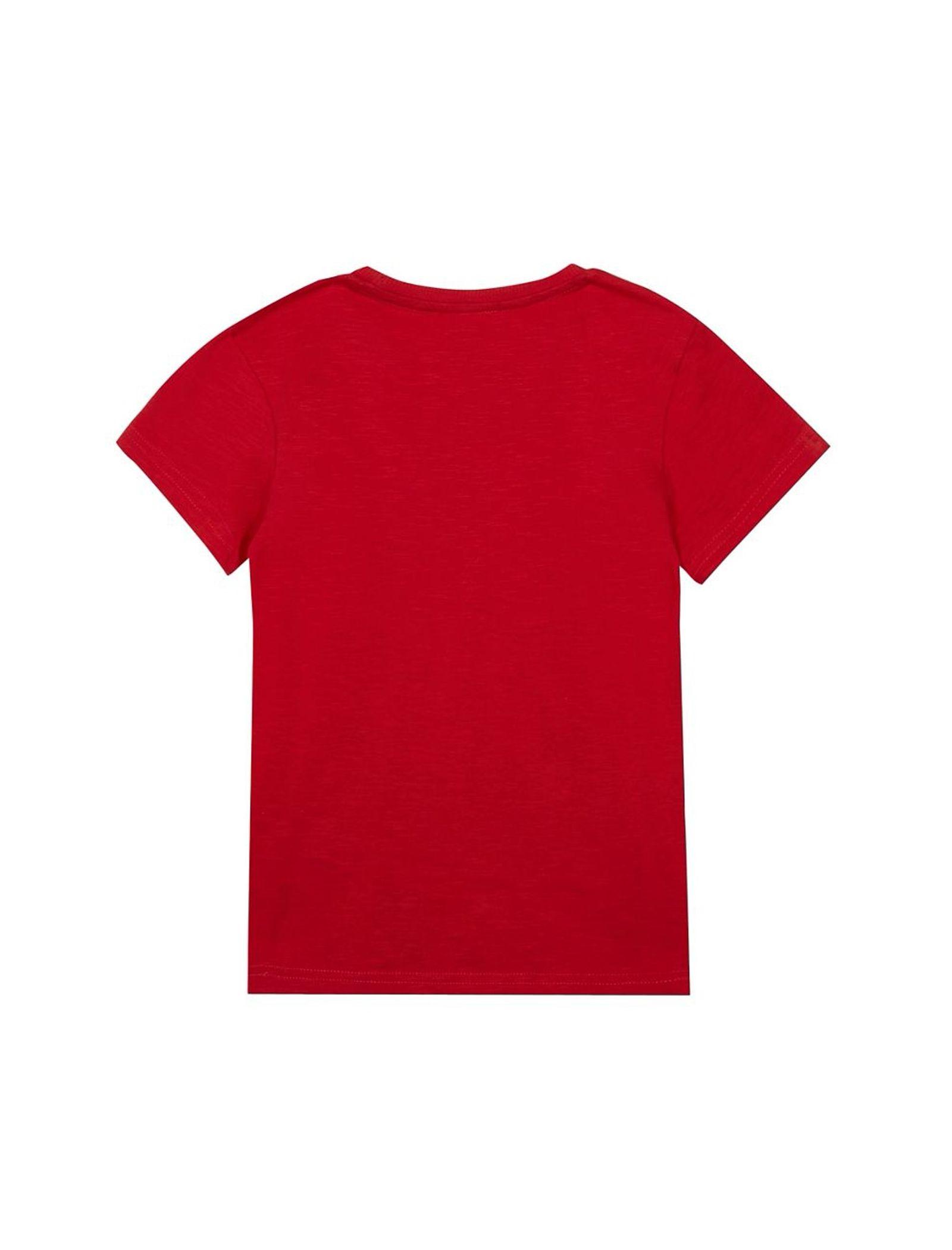 تی شرت نخی یقه گرد پسرانه - بلوزو - قرمز - 2
