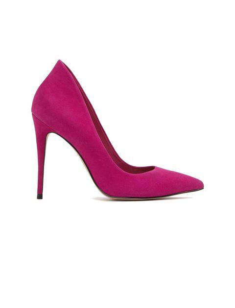 کفش پاشنه بلند چرم زنانه - بنفش - 1