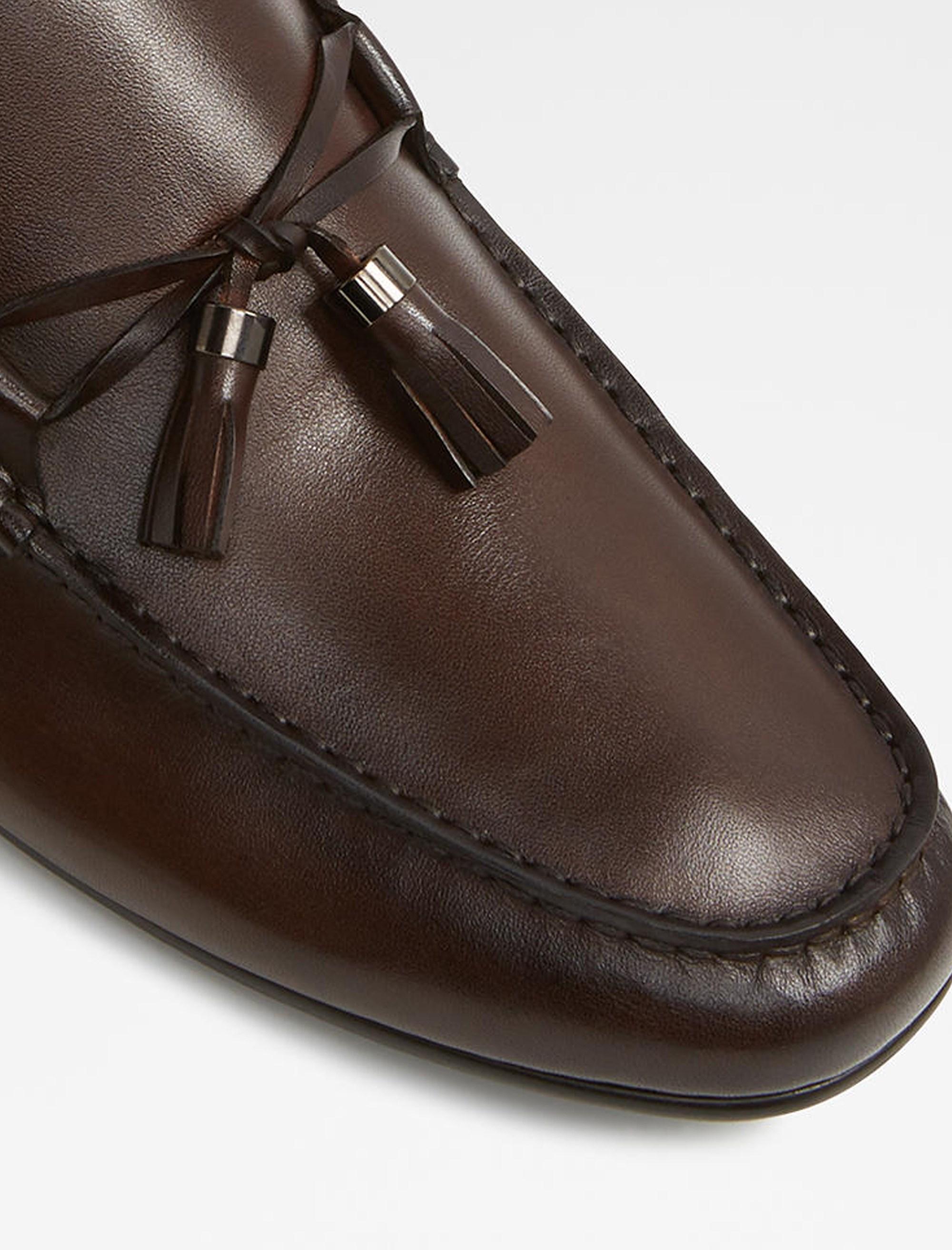 کفش راحتی چرم مردانه - قهوه اي - 4