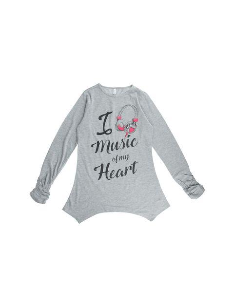 تی شرت نخی آستین بلند دخترانه - طوسي - 1