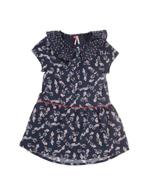 پیراهن آستین حلقه ای نوزادی دخترانه - سرمه اي - 1