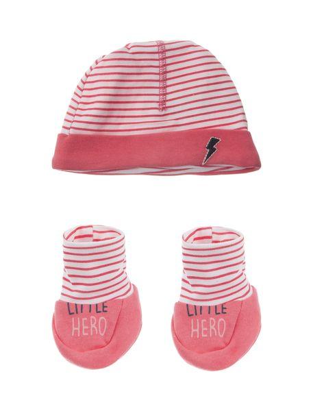 کلاه و پاپوش نخی نوزادی دخترانه - صورتي  - 1
