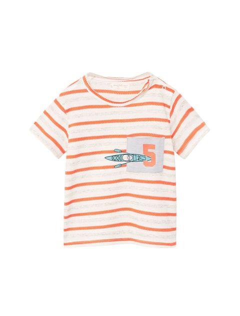تی شرت نخی یقه گرد نوزادی پسرانه - قرمز - 1