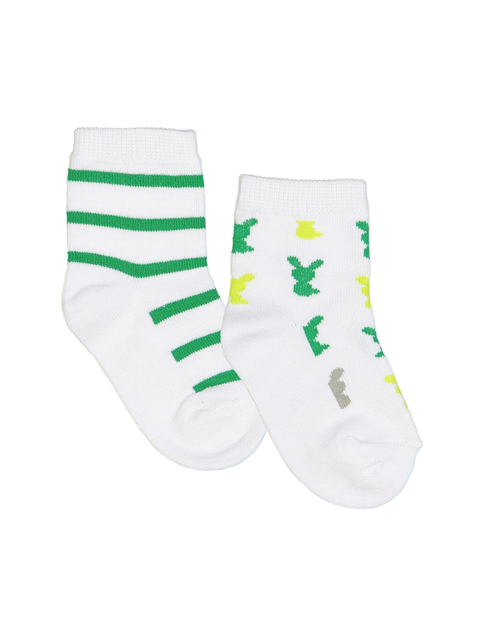 جوراب نخی طرح دار نوزادی بسته 2 عددی - ارکسترا - سفيد - 1