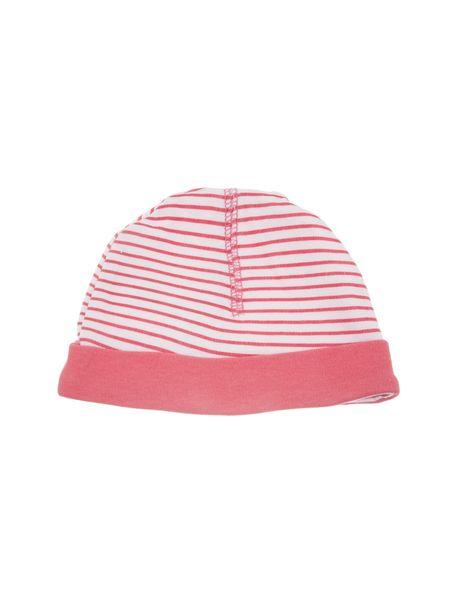 کلاه و پاپوش نخی نوزادی دخترانه - صورتي  - 3