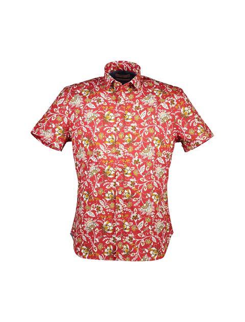 پیراهن نخی آستین کوتاه مردانه - مانگو - قرمز  - 1