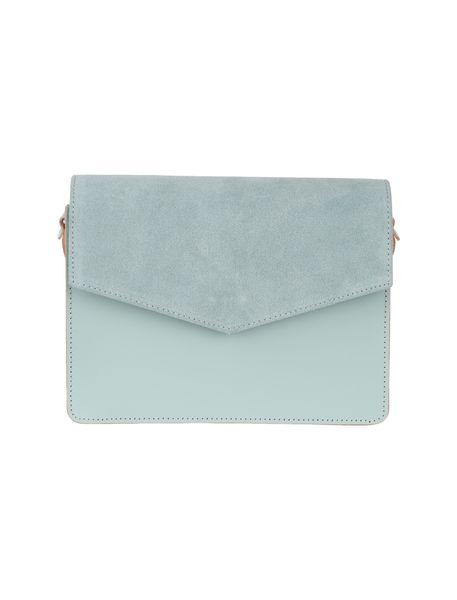 کیف دوشی چرم روزمره زنانه - سبز آبي روشن - 1
