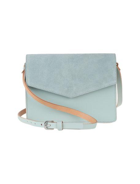 کیف دوشی چرم روزمره زنانه - سبز آبي روشن - 3