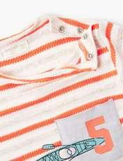تی شرت نخی یقه گرد نوزادی پسرانه - قرمز - 4