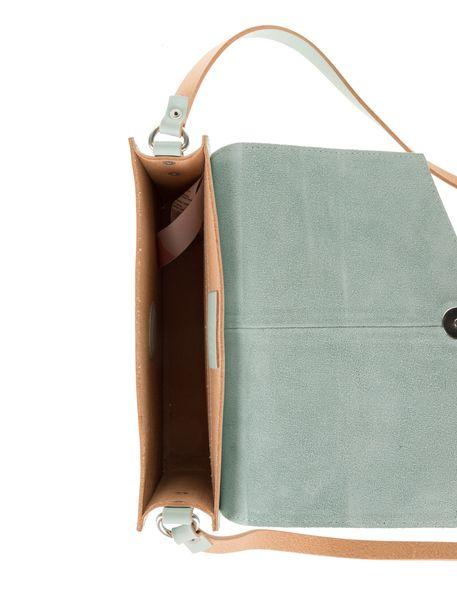 کیف دوشی چرم روزمره زنانه - سبز آبي روشن - 6