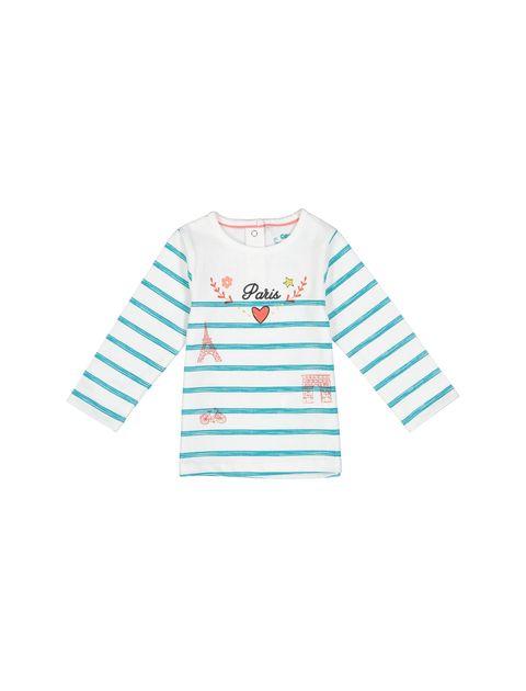 تی شرت نخی طرح دار نوزادی - سفيد - 1