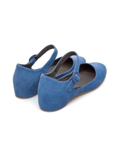 کفش تخت چرم زنانه Lucy - کمپر - آبي - 3