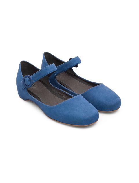 کفش تخت چرم زنانه Lucy - کمپر - آبي - 4